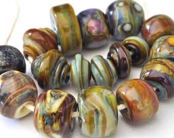 Harmony  (17 Beads) - Handmade Lampwork Glass Beads - Mixed Shaped Handmade Glass Beads - SRA