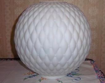 "Vintage 10"" White Satin Glass Quilt Ball Shade Kerosene Oil GWTW Parlor Banquet Lamp"