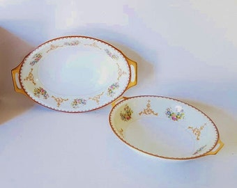 Vintage Dish Bowls Victorian China Casserole  Bowl Dish Oval Serving Bowls Gold Floral Bowls Mix Match China Bowls Brown Gold Green Flowers