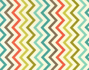 ON SALE Michael Miller Fabric for quilt or craft Mini Chic Chevron in Retro Half yard