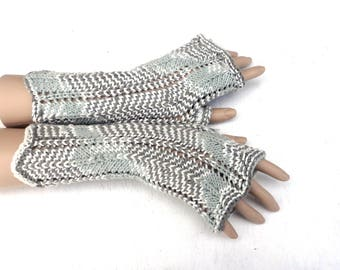 knitted  fingerless gloves,  handknit summer lace  gloves, striped arm warmers, grey white hand warmers, women gloves, knitting mittens