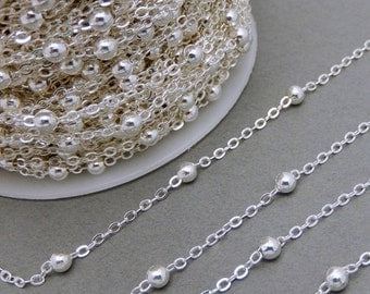 10% off Holiday SALE Silver Plated Cable Chain with Silver Sphere Accent -- ONE FOOT (Chn-550)