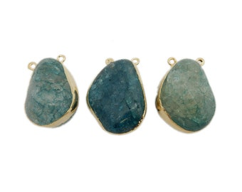 Teal Crackle Quartz Tumbled Stone Double Bail Pendant with Electroplated 24k Gold Edge (S114B11-01)