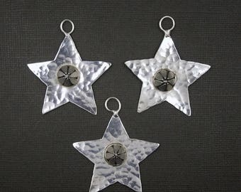 10% off Mothers Day Star Pendant with Teardrop Stud Center  - Silver Toned Brass Hammered Star Pendant - (S18B17-03)