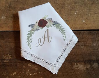 Set of 6 Ladies Printed Wedding Handkerchief with initial or monogram and vibrant floral garland. Printed Wedding Hanky.