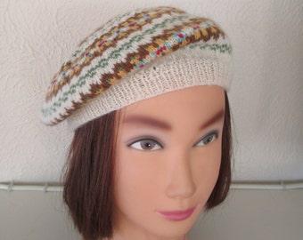 Fair Isle Beret Hand Knit Highland Wool Hat Fairisle 1940s Vintage Pattern Tam