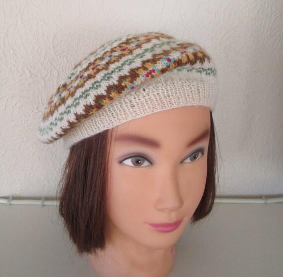 Fair Isle Beret Knitting Pattern : Fair Isle Beret Hand Knit Highland Wool Hat Fairisle 1940s