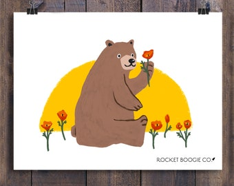 California Bear with Poppy Flower: Art Print