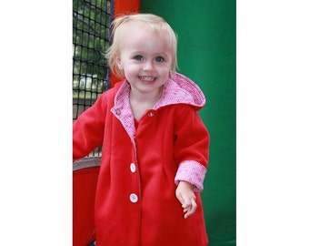 SWEETIE Hooded Girl Coat pattern Pdf sewing pattern, Reversible Hooded Coat Toddler birth up to 10 years Instant Download