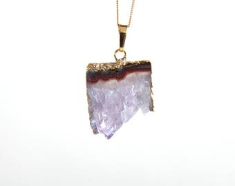 Raw Amethyst Slice Necklace. Natural Stalactite Amethyst Druzy Necklace. Gold Filled Chain Necklace. Gift For Her.