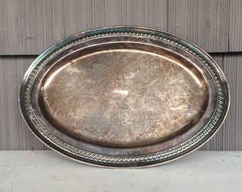 Vintage Silver Tray Beverage Tray Serving Tray Metal Tray Dresser Tray Silver Plated