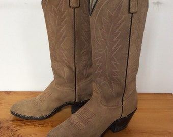 Vintage Tan and Dark Blue Cowboy Boots Western Boots Cowgirl Boots Texas American Made Size 5.5 M