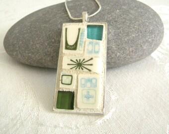 Retro ATOMIC Mosaic Pendant - Rectangle Jewelry Necklace - Broken China