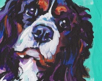 Cavalier King Charles Spaniel art print modern Dog art pop dog art bright colors 13x19 inch