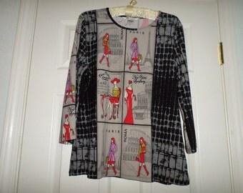 Vintage Blouse Chic Fashion Woman Large Mod Tunic Top