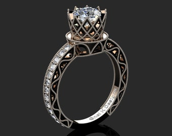 Classic Armenian 14K Rose Black Gold 1.0 Ct White Sapphire Diamond Engagement Ring R782-14KRBGDWS