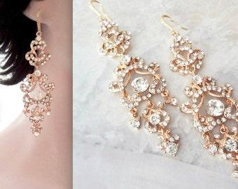 """Long, Gold chandelier earrings, Crystal statement earrings, 4"""", 14k gold over Sterling ear wires, Wedding earrings,Brides earrings -ANGELINA"""