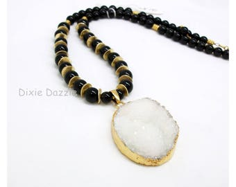 White druzy pendant necklace with earrings, black onyx semiprecious gemstone, classic white and black, gold dipped drusy