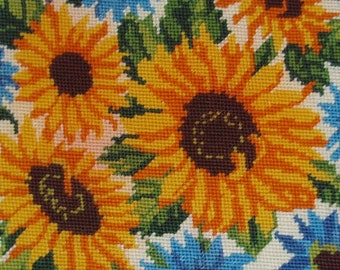 Vintage French needlepoint tapestry canvas embroidery - Sunflowers - Flowers needlepoint