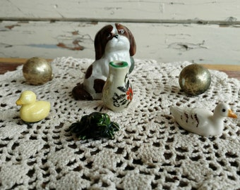 Vintage Miniature Dollhouse Figurines - Antique Miniature Statues, Retro Duck/Dog/Vase/Frog Figurines, Crafting Supply, Vignette Decorations