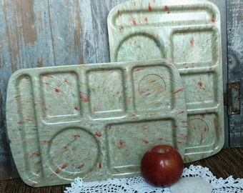 Retro Lunchroom Tray Set of 2 Matching Plates - Vintage Prolon Cafeteria Trays, Two Green Confetti Plastic Plates, Matching Dishes for Kids
