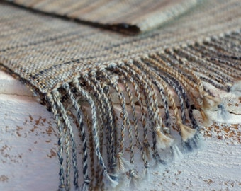 hand woven scarf men scarf gray brown scarf for him READY TO SHIP
