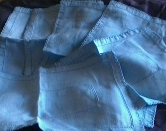 Vintage linen napkins, pastel blue set of six