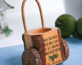 Retro, Toothpick Holder, Mt Rainer Tourist Souvenir, Wheeled Cart w Handle, Wood Tree Bark, Live Edge