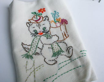 Handmade Vintage Embroidery Kitchen Towel, Male Cat Strolling with His Groceries
