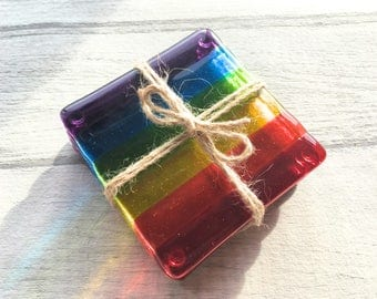 Rainbow Coasters, Fused Glass Coasters, Drink Coasters, Rainbow Glass, Housewarming Gift, Rainbow Decor, Rainbow Gift, Pride Gift