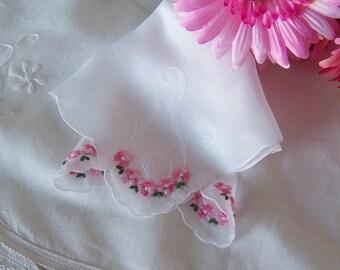 Bride's Handkerchief Pink Floral Vintage Wedding Hanky, Something Old Bridal Shower Gift Wedding Keepsake Hanky, Mother of the Bride Gift