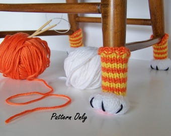 Knitting Pattern Cat Paw Chair Leg Covers, DIY Instruction to Knit Cat Paws for a Chair, Downloadable, Cat Lover's Home Decor or Gift