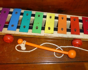 Vintage Fisher Price xylophone music pull a tune toy #870 1969-77