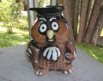 Miers Art Pottery Riga Latvia Smart Graduate OWL Still Bank Vintage