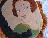 Antique French art deco boudoir pillow cushion velvet w hand painted artdeco lady w cat, signed by artist, w ruffles, French home decor