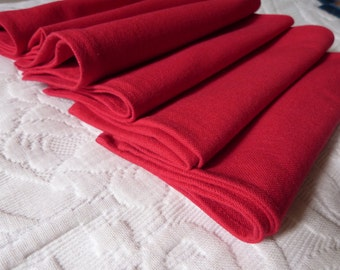 6 Vintage French red linen napkins, table set of 6 linen table napkins serviettes, vintage French table linens, red Christmas table linens