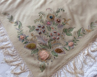 Antique French piano shawl piano scarf hand embroidered wrap 1900s Victorian Steampunk clothing w embroidery w fringes, women accessories