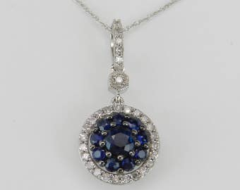 "Diamond and Sapphire Cluster Halo Drop Pendant Necklace 14K White Gold 18"" Chain Wedding Gift"
