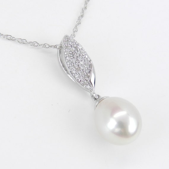 14K White Gold Diamond and Pearl Drop Pendant Wedding Necklace with Chain 18""
