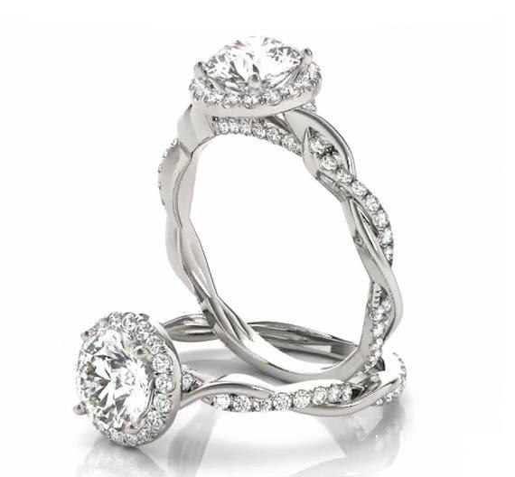 14K Gold Halo Diamond Engagement Ring Setting Semi-Mount Mounting