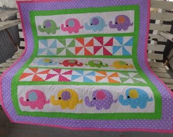 Polka Dot Parade Quilt, Baby Quilt, Elephant Quilt, Bright Modern Quilt 0119-02