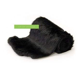 "Black Faux Fur Table Runner - 12"" x 96"""