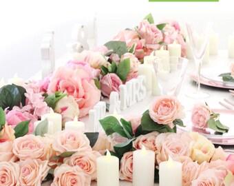 "BLUSH PINK Flower Table Runner | Blush Pink Wedding | Blush Pink Table Decoration | Floral Garland | 10"" x 144"""