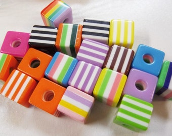 8mm* 10mm. 10CT, Striped, Square Beads, S30