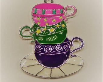 40mm*48mm, Enamel Teacups and Saucer Pendant, P37