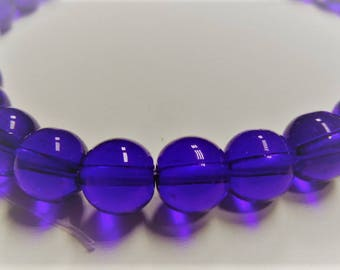 8mm. approx. 40 pieces. Round Blue Glass Beads Strands, 8mm, Hole: 1mm; about 40pcs/strand, S67