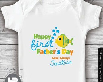 Fish 1st Father's Day Shirt or Bodysuit - Personalized First Father's Day Shirt - Father's Day gift from baby