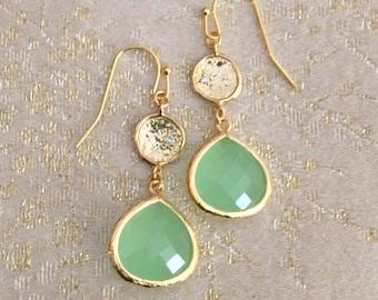 Mint Drop Gold Connector Earrings Bridal Jewelry Wedding Jewelry Limonbijoux