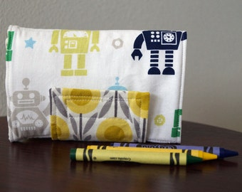 Kids Crayon Wallet - Crayon Holder - Robots - Navy - Gray - Green - Gift Under 20 - With Crayons and Paper - Kids Christmas Gift