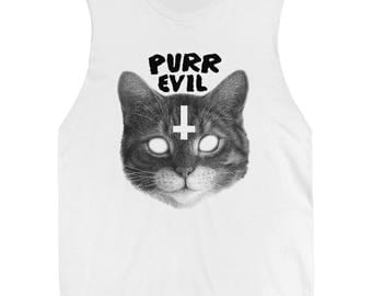 Satanic Cat Tee - Purr Evil Unisex Sleeveless T Shirt